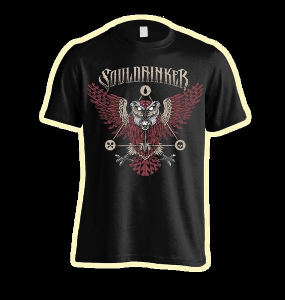 """Front: SOULDRINKER - Bandshirt """"Owl"""""""